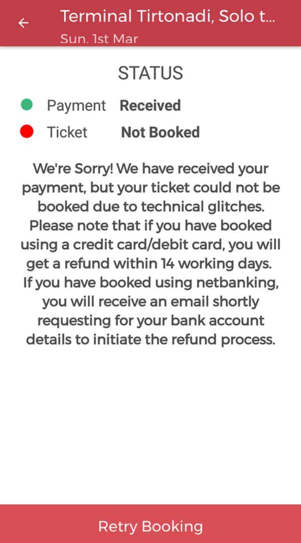 Masalah saat memesan tiket di redbus - yopiefranz